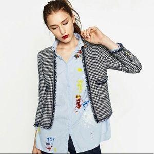 Zara Woman Raw Edge Houndstooth Blazer S Navy Blue